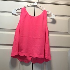 Neon pink scalloped sleeveless top